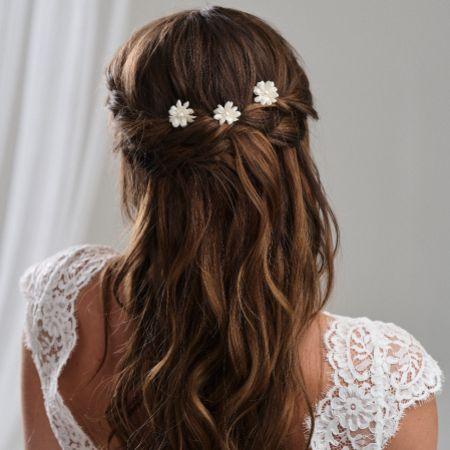 Arianna Set of 3 Double Flower Hair Pins ARP604