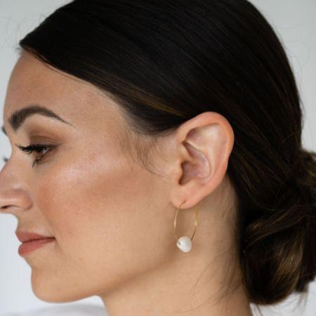 Arianna Simple Pearl Hoop Earrings ARE696