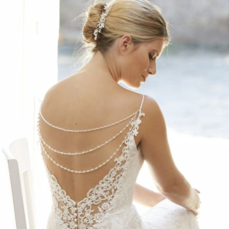 Arianna Trinity Triple Strand Pearl and Crystal Back Jewellery ARN110