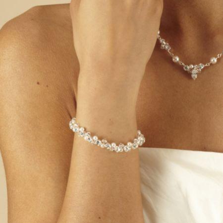Arianna Woven Pearl and Crystal Wedding Bracelet ARW092