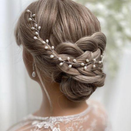 Aruba Long Delicate Pearl Wedding Hair Vine (Silver)