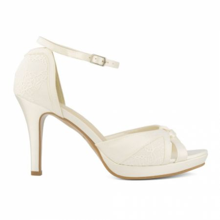Avalia Alba Ivory Satin and Lace Peep Toe Platform Sandals