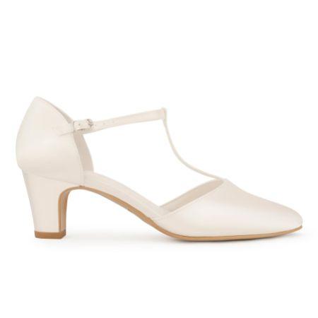 Avalia Aura Ivory Satin Low Block Heel T-Bar Shoes