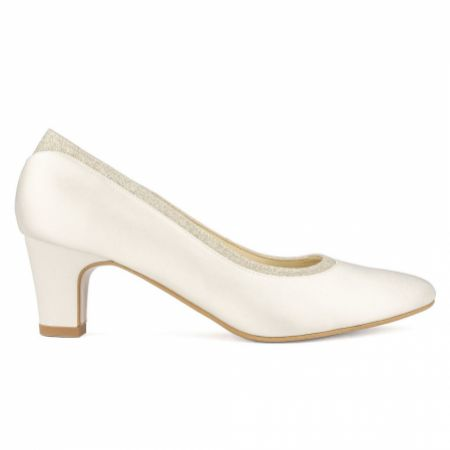 Avalia Mandy Ivory Satin and Silver Glitter Low Heel Court Shoes