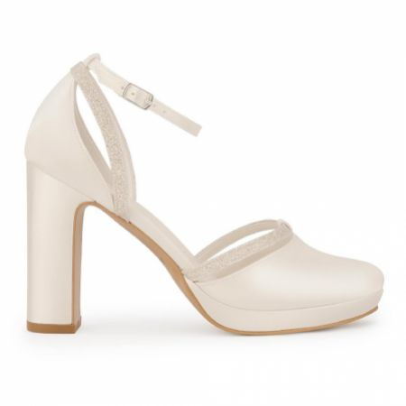 Avalia Mary Ivory Satin and Silver Glitter Block Heel Ankle Strap Shoes