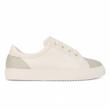 Avalia Robin Ivory Satin and Silver Glitter Wedding Trainers