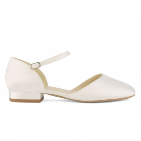 Avalia Sissi Ivory Satin Flat Wedding Shoes with Ankle Strap