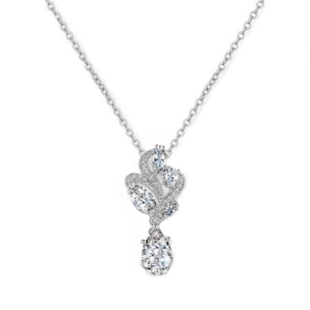 Bejewelled Crystal Vintage Pendant Necklace (Silver)