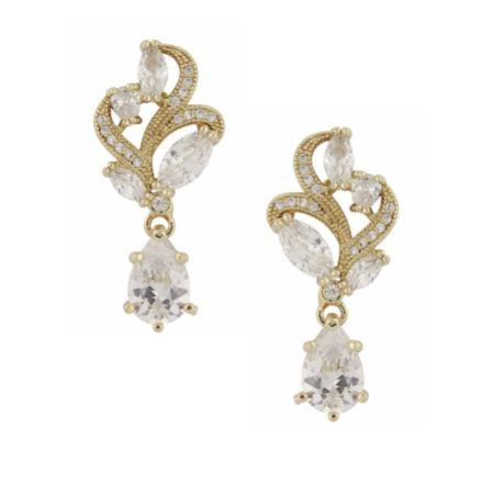Bejewelled Crystal Vintage Wedding Earrings (Gold)