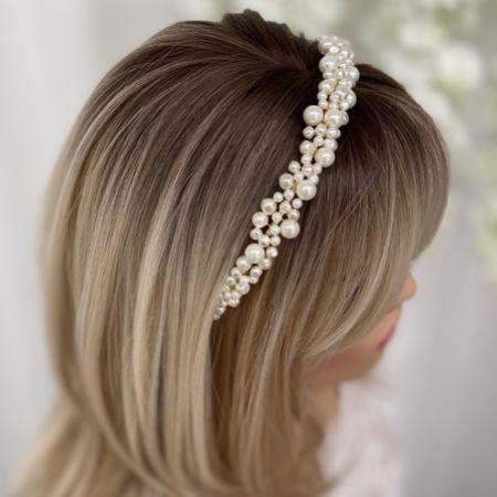 Bella Freshwater Pearl Gold Wedding Headband