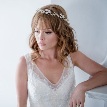 Bianca Golden Flowers and Freshwater Pearl Halo Headpiece