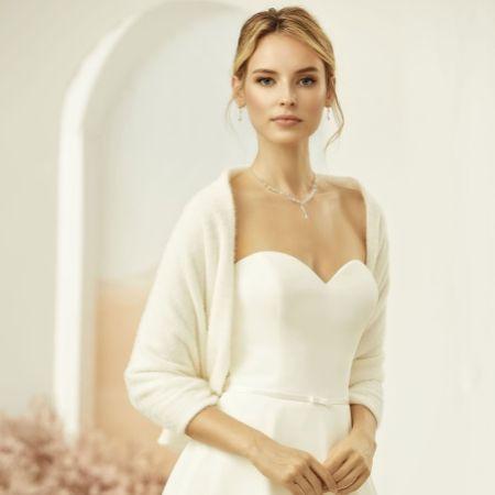 Bianco Ivory Cashmere Effect Wedding Shawl E318
