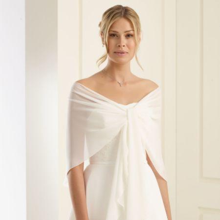Bianco Ivory Chiffon Wedding Wrap E13
