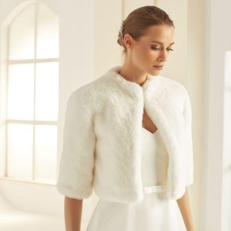 Bianco Ivory Faux Fur Elbow Length Wedding Jacket E307