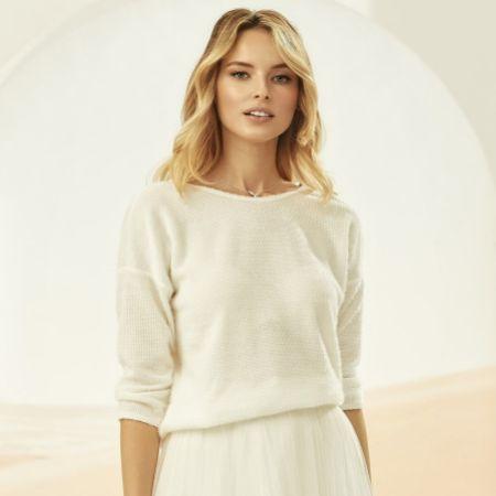 Bianco Ivory Knitted 3/4 Length Sleeve Bridal Jumper E327