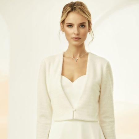 Bianco Ivory Knitted Long Sleeve Bridal Cardigan E317