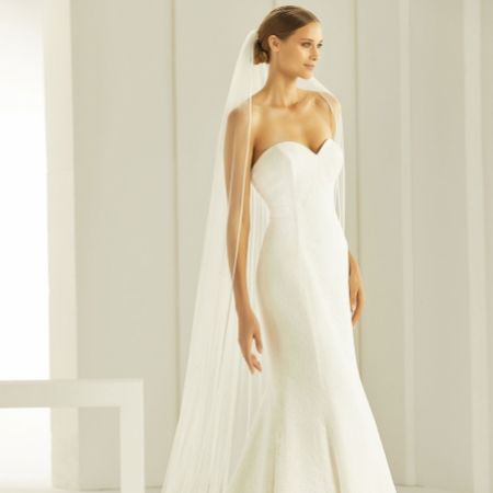 Bianco Ivory Single Tier Satin Edge Cathedral Veil with Crystals S296