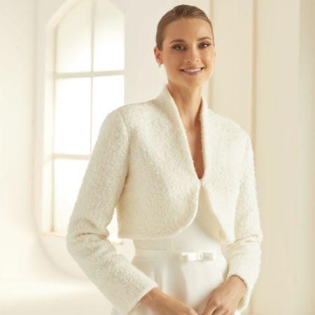 Bianco Ivory Wool Long Sleeve Wedding Jacket E293