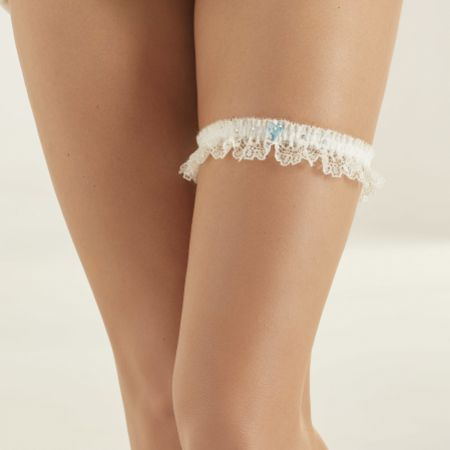 Bianco Narrow Ivory Lace Garter with Blue Crystal Heart and Diamante