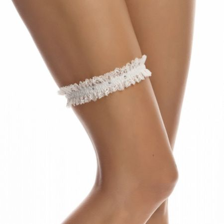 Bianco Narrow Ivory Lace Garter with Diamante Detail