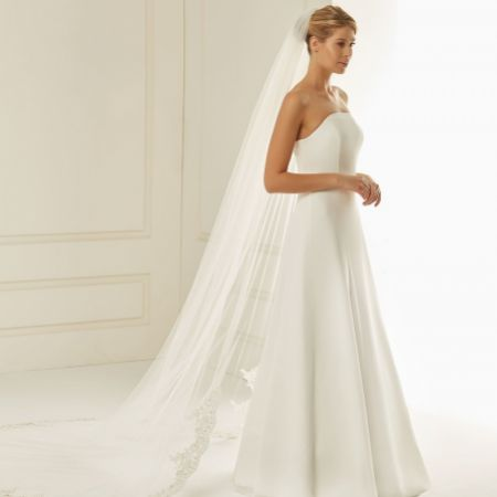 Bianco Single Tier Cut Edge Cathedral Veil with Beaded Lace Train S236