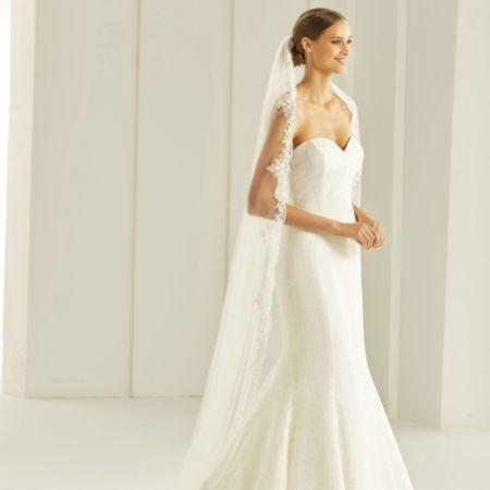 Bianco Single Tier Delicate Beaded Lace Edge Chapel Veil S290