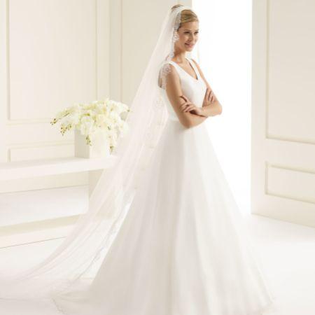 Bianco Single Tier Fine Lace Edge Chapel Length Veil S218
