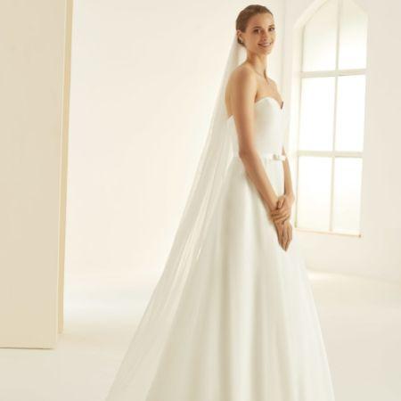 Bianco Single Tier Glitter Tulle Floor Length Veil S361