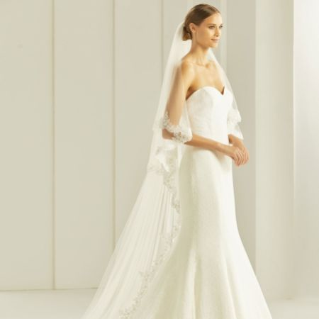 Bianco Two Tier Delicate Beaded Lace Edge Cathedral Veil S258