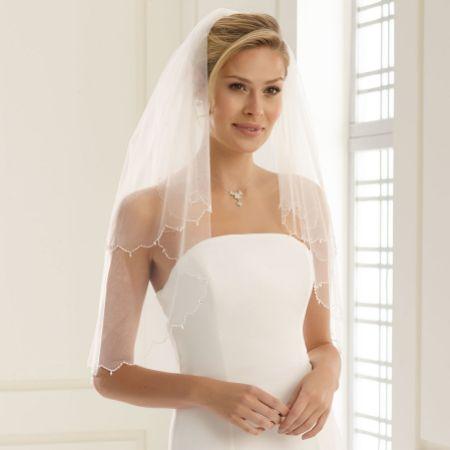 Bianco Two Tier Waist Length Veil with Glass Bead Edge S141
