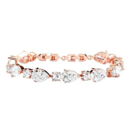 Carly Classic Cubic Zirconia Wedding Bracelet (Rose Gold)