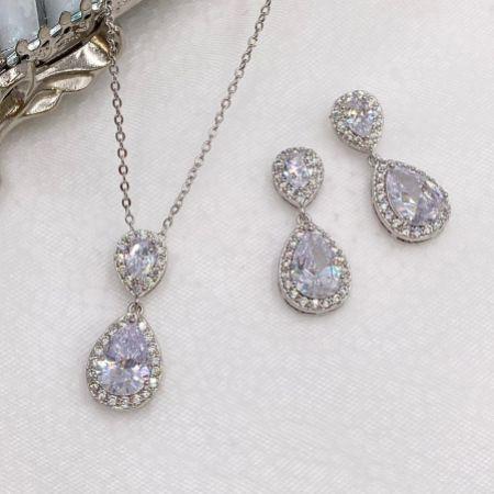 Celeste Silver Crystal Embellished Wedding Jewellery Set