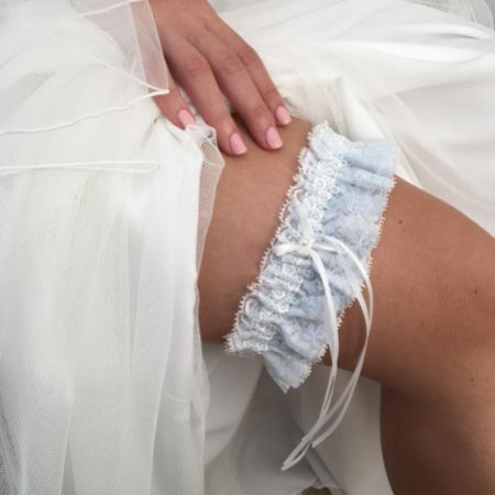 Chantilly Blue Floral Lace Bridal Garter with Pearl Droplet