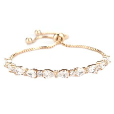 Charlee Chic Cubic Zirconia Wedding Bracelet (Gold)