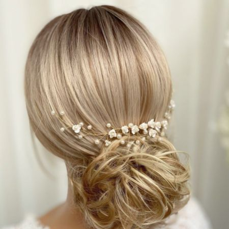 Confetti Flowers and Pearl Hair Vine on Comb (Gold)