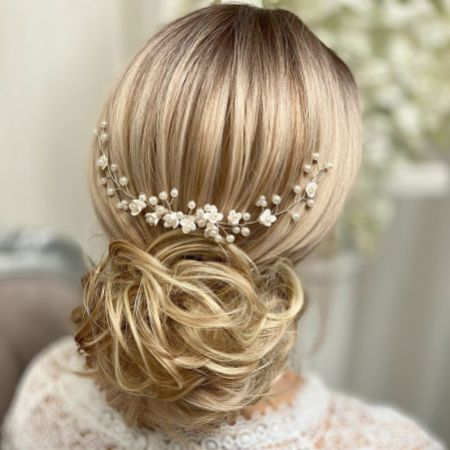 Confetti Flowers and Pearl Hair Vine on Comb (Silver)