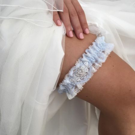 Desire Blue and Ivory Lace Bridal Garter with Crystal Heart Detail