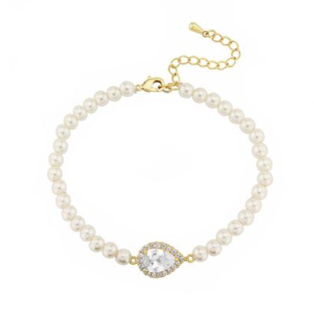 Desiree Chic Pearl Wedding Bracelet (Gold)