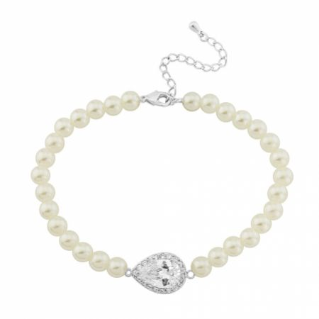 Desiree Chic Pearl Wedding Bracelet (Silver)