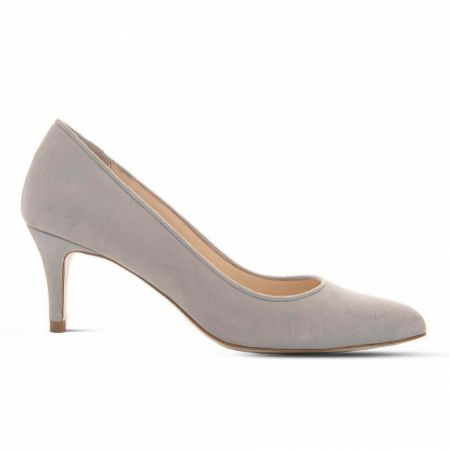 Diane Hassall Violette Smoke Grey Suede Mid Heel Pointed Court Shoes