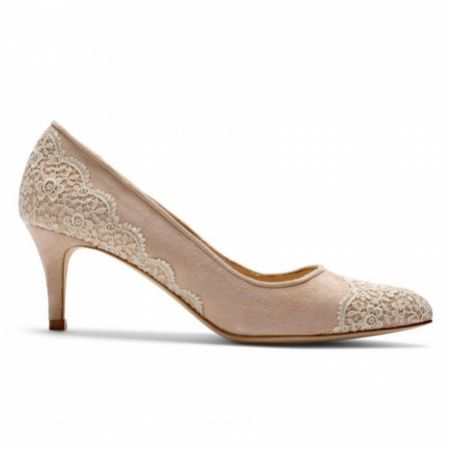 Diane Hassall Willo Nude Suede and Guipure Lace Court Shoes
