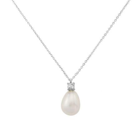 Dolci Silver Teardrop Pearl Pendant Necklace