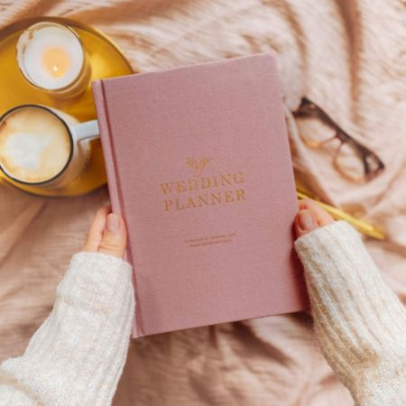 Dusty Pink Cotton Linen Wedding Planner Book with Gilded Edges