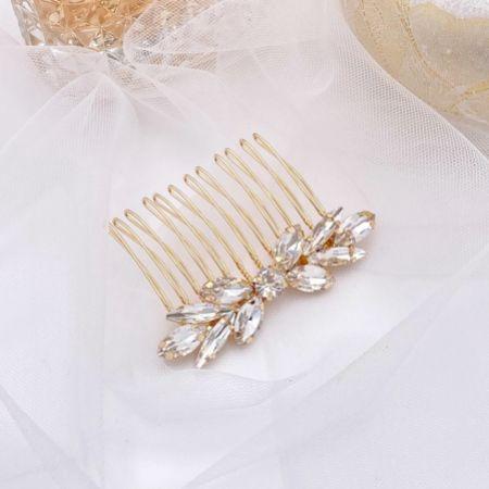 Elara Gold Dainty Crystal Wedding Hair Comb