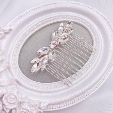 Elara Silver Dainty Crystal Wedding Hair Comb