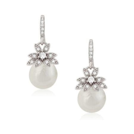 Eleanor Vintage Inspired Crystal and Pearl Drop Earrings