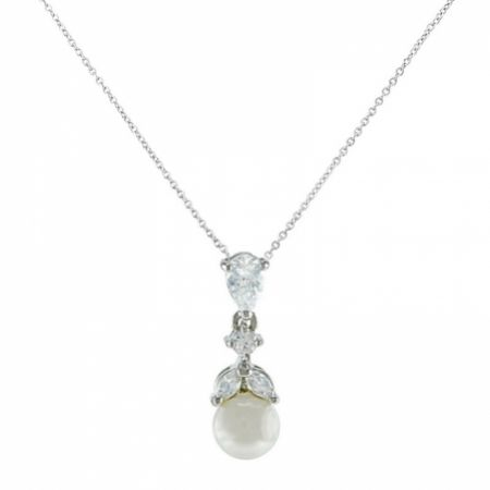 Elegance Crystal and Pearl Wedding Pendant Necklace