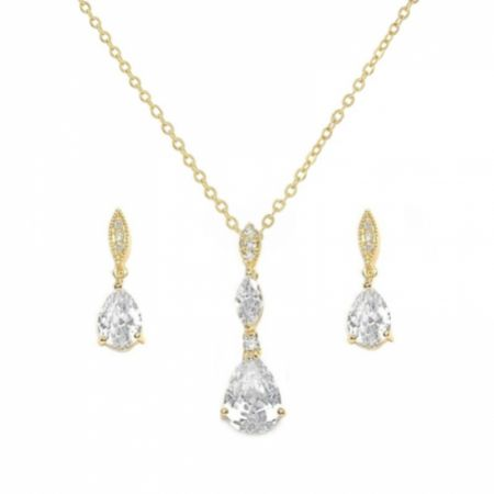 Ellie Gold Cubic Zirconia Crystal Wedding Jewellery Set