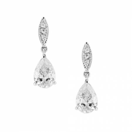 Ellie Silver Teardrop Crystal Earrings