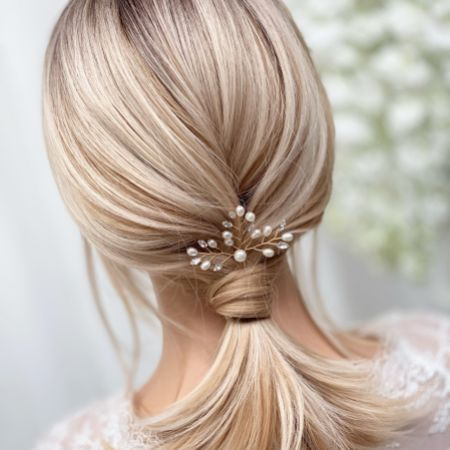 Elodie Crystal and Pearl Wedding Hair Pin (Gold)